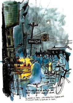 Sketchbook Christina Curto - Asbury Park, New Jersey (Urban Sketchers) Pen And Watercolor, Watercolor Paintings, Watercolors, Ant Drawing, Urban Sketchers, Pole Art, Ink In Water, Examples Of Art, Cristina
