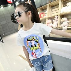 Department Name: Children Item Type: Tops Tops Type: Tees Clothing Length: Regular Pattern Type: Letter Gender: Girls Style: Fashion Brand Name: None Material: Cotton Collar: O-Neck Sleeve Length: Sho