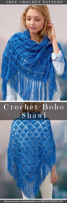 Crochet Boho Shawl - Free Pattern #crochetscarf #crochetfreepatterns #crochetshawl #freecrochetpatternsforshawl #freecrochetpatternsforlady #freecrochetpatternsforsummer