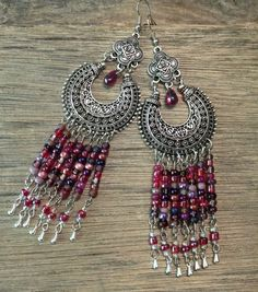 Chandelier Earrings Purple Red Silver Long by TheHippieBohemian