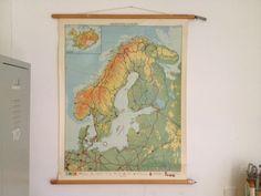 Wandkaart/ schoolplaat Noord-West Europa