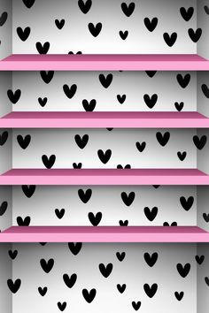 Cute black & white background with pink shelves