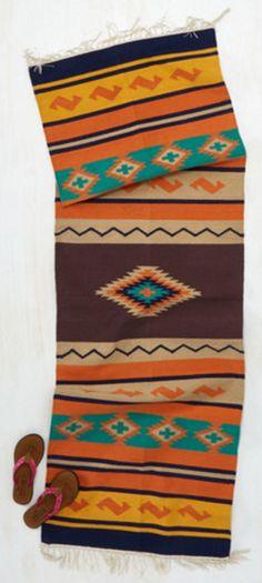 Brown, orange, and turquoise southwestern print hallway runner