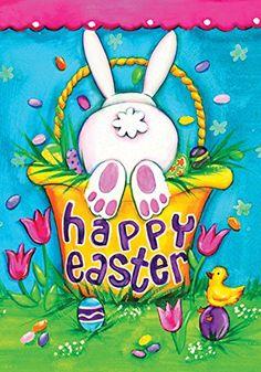 """Garden Flag Home Decor Yard Banner Easter Egg Kiss Rabbit Flower 28x40/""""//12.5x18/"""""""