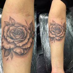 Dot work rose by Joanne #devilsowntattoos #devilsown #leicester #leicestertattoo #tattoo #dotwork #dotworktattoo #blackandgrey #shadedtattoo
