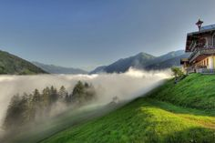 Morning mist in Bad Gastein, Salzburg, Austria  #austria #badgastein #landscape #morning #sun #mist #summer