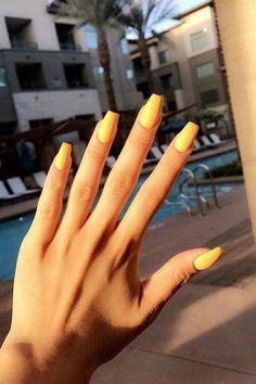 11 Yellow mattte coffin acrylic Nails 2018 2019 #acrylicnaildesigns #AcrylicNailsForSummer Simple Acrylic Nails, Best Acrylic Nails, Acrylic Nail Art, Acrylic Nail Designs, Nail Art Designs, Simple Nails, Coffin Acrylics, Coffin Nails, Gel Nail Polish