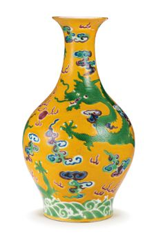 """This yellow-ground polychrome-enamelled vase from the Qing Dynasty, Jiaqing Period, was sold at for HKD (~ € The vase is decorated with a pair of dragons soaring around a """"flaming pearl"""" which is which is the pearl of supremacy. Oriental, Chinese Ceramics, Qing Dynasty, Chinese Antiques, Chinese Art, Chinoiserie, Modern Art, Auction, Porcelain"""