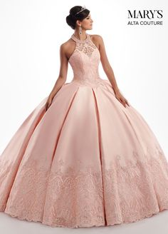 Awe-inspiring Mikado gown with a sheer halter, sweetheart neckline and full box-pleated skirt. The bodice and hem have been embellished with embroidery and crystal beading. Ball Gown Dresses, Bridal Dresses, Prom Dresses, Sweet 15 Dresses, Pretty Dresses, The Dress, Pink Dress, Pretty Quinceanera Dresses, Quince Dresses