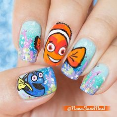 """Nail Art Inspired by Disney's """"Finding Nemo"""""""