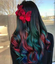 Experts who used to work ombre styles are now concentrating on fancy rainbow hair colors these days. Looking for Christmas Hair Colors Ideas? Here is 7 Crazy Rainbow Christmas Hair Colors Ideas for Trendy Girls to wear, Check them NOW Beautiful Hair Color, Cool Hair Color, Amazing Hair Color, Oil Slick Hair Color, Christmas Hair, Christmas Eve, Christmas Colors, Dream Hair, Pretty Hairstyles
