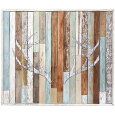 Against a background evoking weathered, reclaimed wood, a majestic pair of antlers has been hand-painted in white. At once nostalgic and ruggedly outdoorsy, this is art with 10 points of view for retreats, studies and dens.