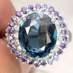 Vintage 4.25CT Oval Cut London Blue Topaz Purple Amethysts White Sapphire Ring