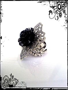 Gothic Black Rose Ring by ApplebiteJewelry