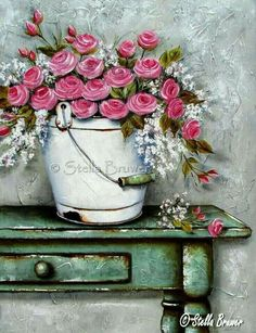 Stella Bruwer white enamel bucket with pink.roses on shabby green table Art Floral, Watercolor Flowers, Watercolor Paintings, Flower Paintings, Decoupage, Vintage Diy, Pictures To Paint, Vintage Flowers, Painting Inspiration