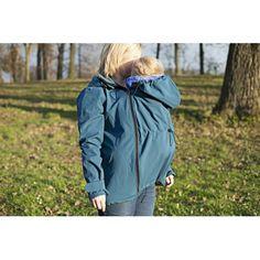 Softshellová bunda na nošení dětí Leniice - modrá - pro přední i zadní nošení. Rain Jacket, Windbreaker, Raincoat, Jackets, Fashion, Down Jackets, Moda, La Mode