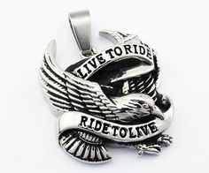 Stainless Steel Biker Eagle Live to Ride Pendant (http://store.bikerornot.com/stainless-steel-biker-eagle-pendant/)