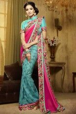 Rose Pink and Turquoise Blue  Cotton Silk Embroidered Party Saree