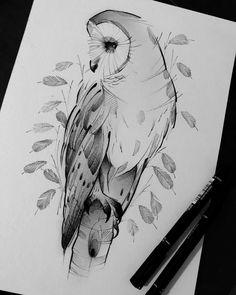 Arte criada pelo tatuador Robson Fig que trabalha em São Paulo.  Coruja em tons de cinza. Owl Tattoo Drawings, Bird Drawings, Pencil Art Drawings, Animal Drawings, Drawing Sketches, Owl Tattoos, Drawing Animals, Lechuza Tattoo, Owl Sketch