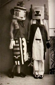 Masks made by members of Bauhaus Art School and cultural movement, Sophie TAEUBER-ARP ( artista and dancer ) with Erika TAEUBER-ARP.Costumes designed  by Sophie TAUEBER-ARP.