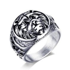 Men's Stainless Steel Ring Punk Lion Head Ring Silver Color Jewelry Men Power Ring #Affiliate