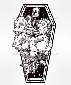 Decorative Coffin In Flash Tattoo Style.