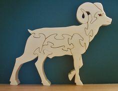 Big Horn moutons bois Puzzle coupe avec la scie par DukesScrollSaw