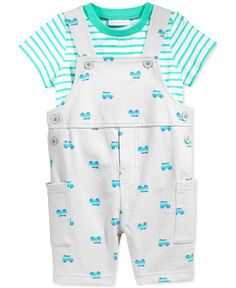 First Impressions Baby Boy's Stripe T-Shirt & Surf Car Shortall Set, Only at Macy's