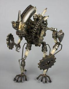 Scrap Metal Sculpture Model Recycled Handmade Art Robot 2 - LUX-FAIR.com - 1