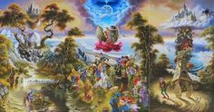"""Move Your Self"" by Alexander Donskoi. #Triptych painting oil on canvas (142cm x 270cm). #art #painting #surrealism #spiritual #faith #figurativeart #oilpainting"