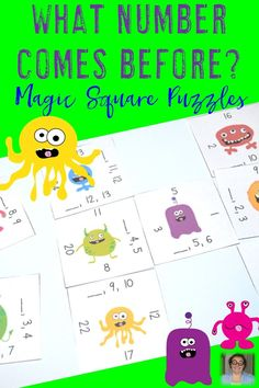 Working on numbers 1-24 with your preschool, Kindergarten, or 1st grade students? Then you're going to love this engaging, hands-on Magic Square Puzzle! Students will be able to determine what number comes BEFORE the next two numbers and match them up in a fun puzzle game format! These two differentiated puzzles will be perfect for your PreK, Kinder, or first grade students - as well as homeschool families! Click through to buy your copy today! $