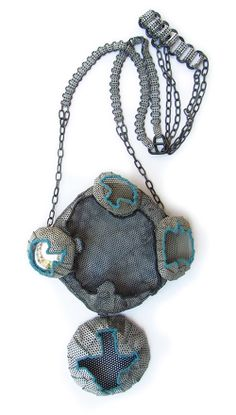 Dana Hakim Neckpiece: My Four Guardian Angels - the blue series, 2011 Iron Nets, Paint, Reflective Light Threads, Cotton Threads, Mirrored...
