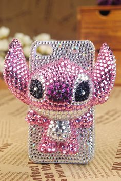 blingbling crystal cover cell phone case Ohana Stitch pink for iphone 4