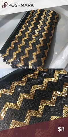 Black gold sequin clutch Very sparkly geometric print clutch Charming Charlie Bags Clutches & Wristlets