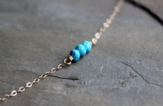 Itty Bitty Turquoise Necklace.  Dainty delicate necklace. Minimalist necklace by SketchLines