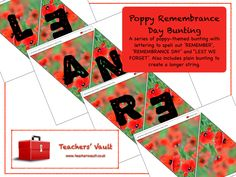 Poppy-Themed Remembrance Day Bunting - EYFS, KS1, KS2, KS3 Citizenship British Values Teaching Resources and Displays