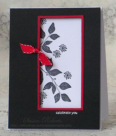 handmade card: Celebrate You » Rainy Day Creations ....black and white card with a pop of red ribbon ... clean design ...