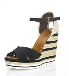 Sandalo Espadrillas su zeppa cm.12 a righe corda+camoscio. Suola bicolore. Suola in gomma. Spring-Summer 2013  #MadeinItaly #outfit #outfitetnico #outfitethnic #shoes #shoesethnic #outfitsummer #sandal #wedge #heel