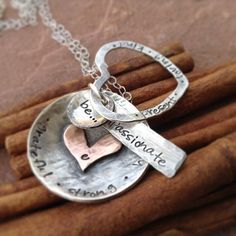 Sterling silver rustic copper dog tags hearts discs personalized hand stamped necklace jewelry - be kind loving compassionate strong present