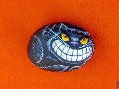 Halloween Black Cat Hand Painted rock Painted stone by artalika, $18.00