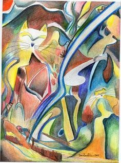 Saatchi Online Artist daniel levy; Drawing, gato abstracto
