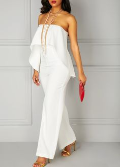 White Ruffle Overlay Strapless High Waist Jumpsuit on sale only US$35.84 now, buy cheap White Ruffle Overlay Strapless High Waist Jumpsuit at liligal.com