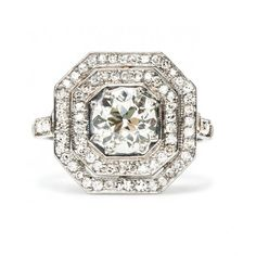 Platinum Art Deco Diamond Engagement Ring ONLY 14,500 dollars!