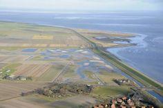 Waddendijk Texel met links Utopia, rechts De Schorren. De weg die vanaf de Waddendijk landinwaarts voert heet de Stuifweg.