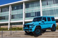 Mercedes AMG wrapped in 3m Sky Blue vinyl with black accents on color matched rims. Yay or nay?