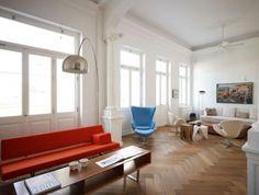 klassiek parket in een modern interieur | Visgraat parket. Door browse4fun