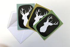 3 Postcards Deer