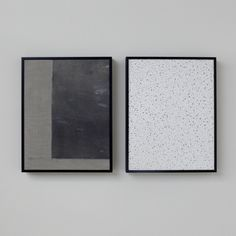 A. NIGH HERNDON  it is a silence you have to write about with a soft pencil in order not to erase the sound - diptych  (panel one): graphite x enamel x fiberglass on unprimed canvas (panel two): acoustic panel (30.48 x 57cm overall) (30.48 x 22.86cm each) 2016