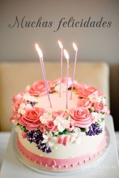 Ideas For Birthday Flowers Cake For Women - Tortas decoradas - Bolo Flores Buttercream, Buttercream Cake, Beautiful Birthday Cakes, Beautiful Cakes, Happy Birthday Cakes For Women, Birthday Cake Ideas For Adults Women, Beautiful Flowers, Pretty Cakes, Cute Cakes