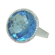 Blue Topaz Ring With 0.14 Cttw Diamonds https://www.goldinart.com/shop/colored-gemstone-rings/blue-topaz-ring-with-0-14-cttw-diamonds #BlueTopazRing, #WhiteGold
